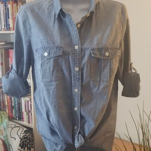 J Crew The Perfect Shirt Button Down Denim sz S